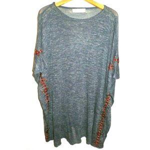 Women's M Zara Knit Linen Blend Poncho